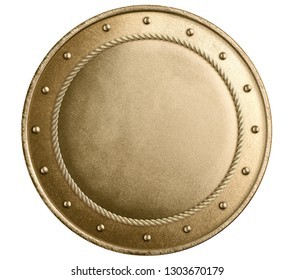 Large gold metal round shield isolated 3d illustration