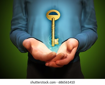 Large golden key floating over a man's cupped hands. 3D illustration.