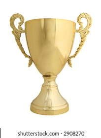Large golden trophy isolated on white with clipping path - real object not a 3D render