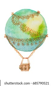 A large green air balloon for travel painted in watercolor