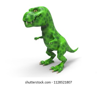 A large green dinosaur TIREX. 3D illustration on white background