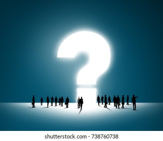 Large group of business people and big question mark