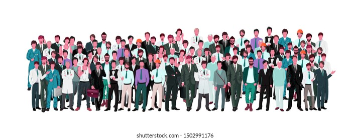 Large group crowd of different age men male professionals businessmen