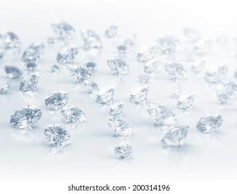 Large group of diamonds close up