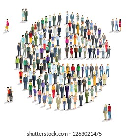 large group of people decide, illustration