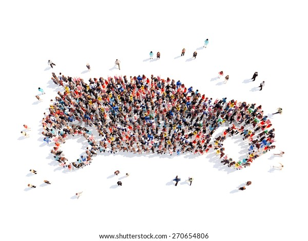 The Car Group >> Large Group People Form Car Isolated Arkistokuvitus 270654806