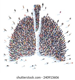 A large group of people in the form of a human lung medicine. Isolated, white background.