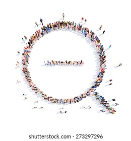 Large group of people in the form of a magnifying glass. Flashmob, isolated, white background.