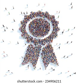 Large group of people in the form of reward.  White background
