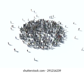 Large group of people in the form of  sphere