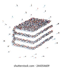 Large group of people in the form of a stack of books. Flashmob, isolated, white background.