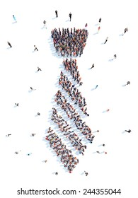 Large group of people in the form of a tie. Flashmob, isolated, white background.