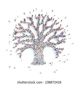 Large group of people in the form of a tree. Isolated, white background.