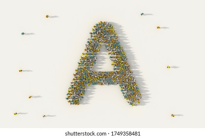 Large group of people forming letter A, capital English alphabet text character in social media and community concept on white background. 3d sign symbol of crowd illustration from above