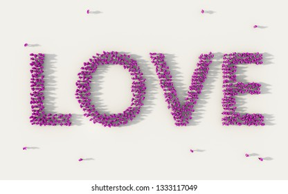 Large group of people forming Love lettering text in social media and community concept on white background. 3d sign of crowd illustration from above gathered together