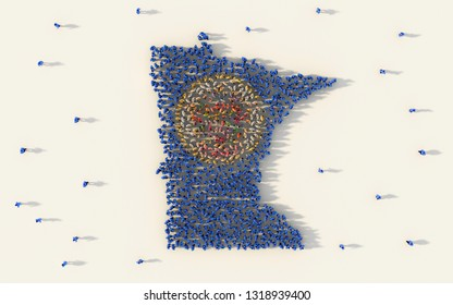 Large group of people forming Minnesota flag map in The United States of America in social media and community concept on white background. 3d sign symbol of crowd illustration from above