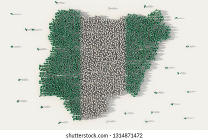 Large group of people forming Nigeria map and national flag in social media and communication concept on white background. 3d sign symbol of crowd illustration from above gathered together