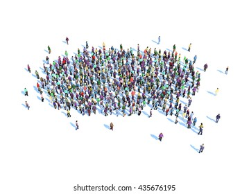 Large group of people forming a speech bubble symbol - 3D illustration