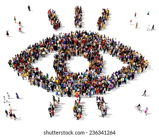 Large group of people gathered together in the shape of a eye symbol standing on a white background