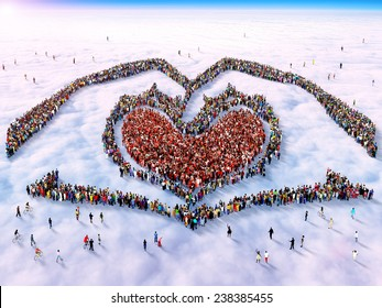 Large group of people gathered together as two hands holding a heart symbol standing above the clouds