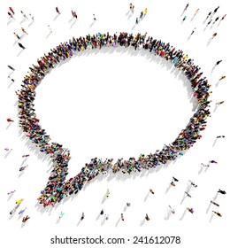 Large group of people gathered together in the shape of a speech bubble