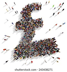 Large group of people gathered together in the shape of a pound symbol