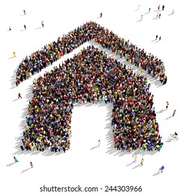 Large group of people gathered together in the shape of a house symbol