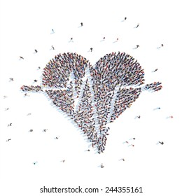 Large group of people in a heart shape, cardio. Flashmob, isolated, white background.