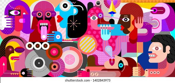 Large group of people with one big dog graphic illustration. Modern abstract artwork of city street scene.