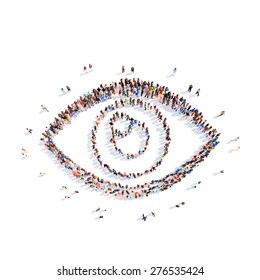 A large group of people representing the eye. Isolated, white background.