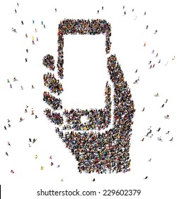 Large group of people seen from above, gathered in the shape of a smartphone in hand