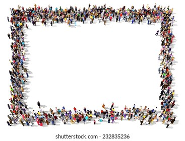 Large group of people seen from above, gathered in the shape of a rectangle standing on white background