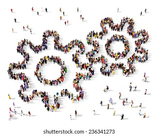 Large group of people seen from above gathered in the shape of a gear icon