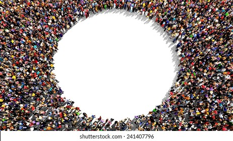 Large group of people seen from above, gathered in the shape of a circle, standing on a white background