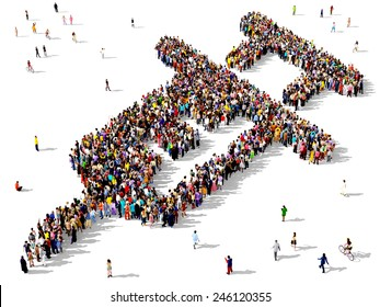 Large group of people seen from above gathered together in the shape of a syringe icon