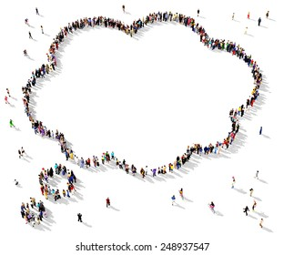 Large group of people seen from above gathered together in the shape of a thought bubble