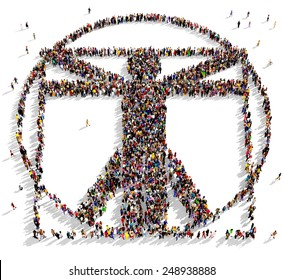 Large group of people seen from above gathered in the shape of the Vitruvian man