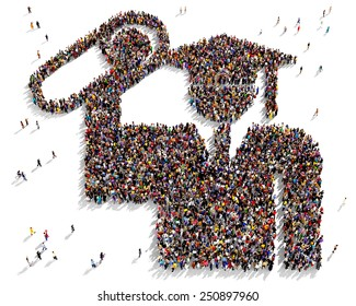 Large group of people seen from above gathered together in the shape of a graduate icon