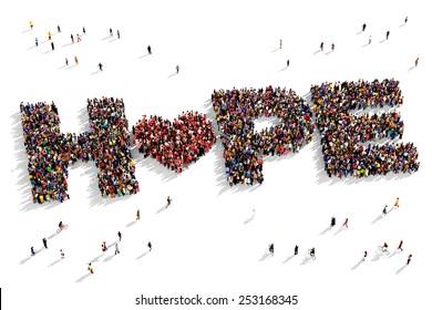 "Large group of people seen from above gathered together to form out the text ""Hope"""