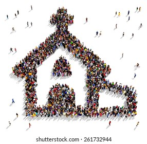 Large group of people seen from above gathered together in the shape of a church