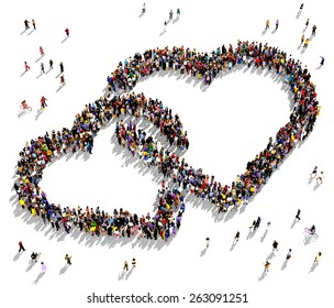 Large group of people seen from above gathered together in the shape of two intertwined hearts
