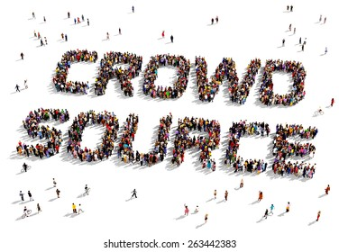 """Large group of people seen from above gathered together to form out the text """"Crowd Source"""""""