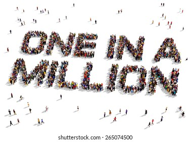 """Large group of people seen from above gathered together to shape the text """"One in a Million"""""""