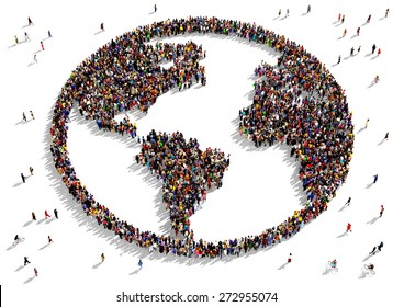 Large group of people seen from above gathered together in the shape of the world map