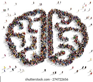 Large group of people seen from above gathered together in the shape of a human brain