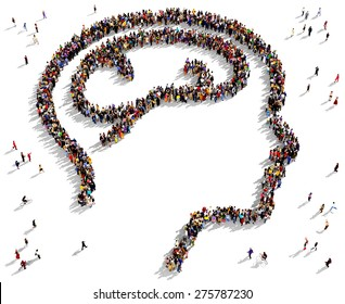 Large group of people seen from above gathered together in the shape of a human head with brain