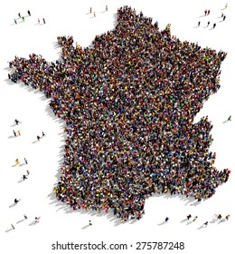 Large group of people seen from above gathered together in the shape of France
