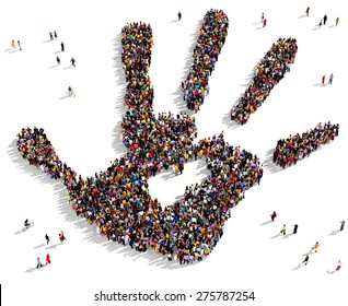 Large group of people seen from above gathered together in the shape of a hand print