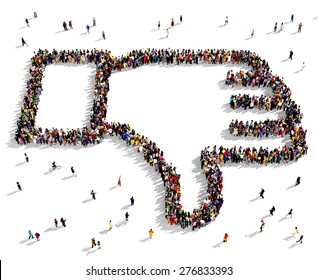 Large group of people seen from above gathered together in the shape of thumbs down symbol