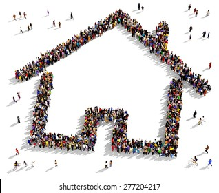 Large group of people seen from above gathered together in the shape of a house symbol